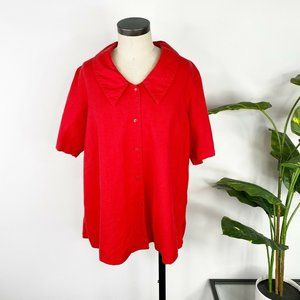 Coldwater Creek Linen Shirt Top Plus 1X Red
